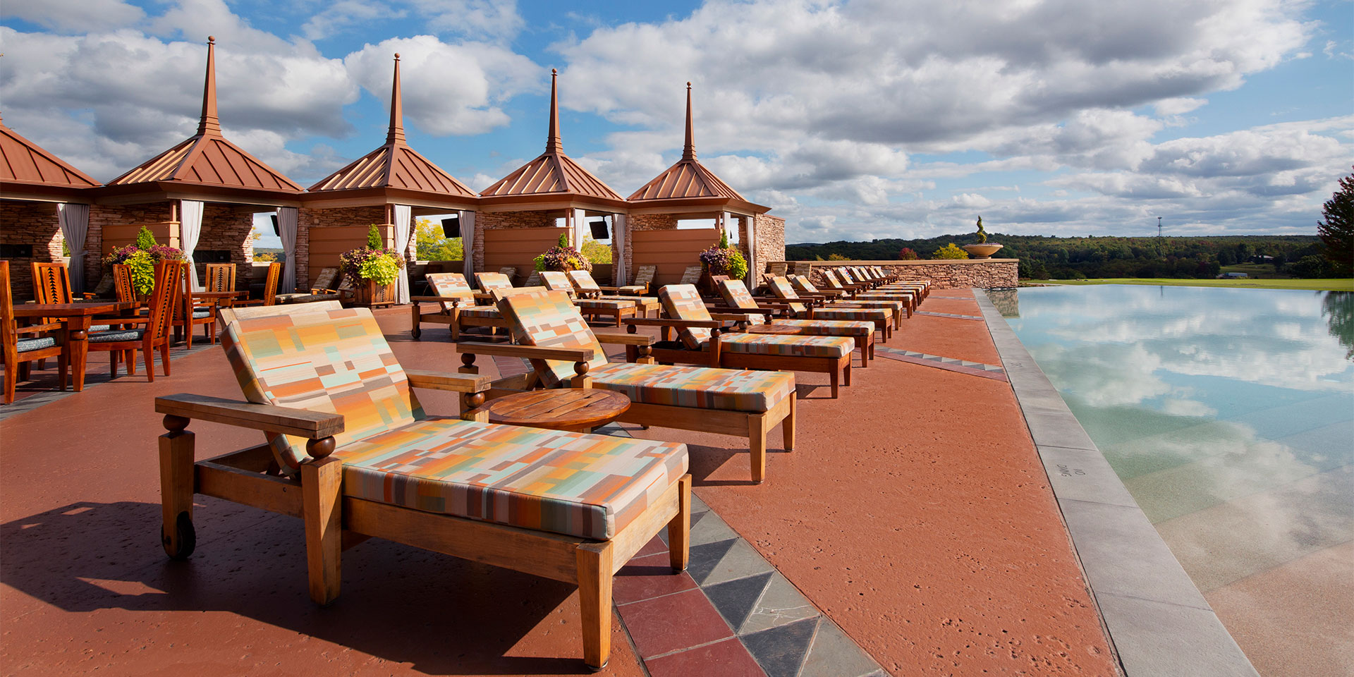 poolside chairs and cabanas