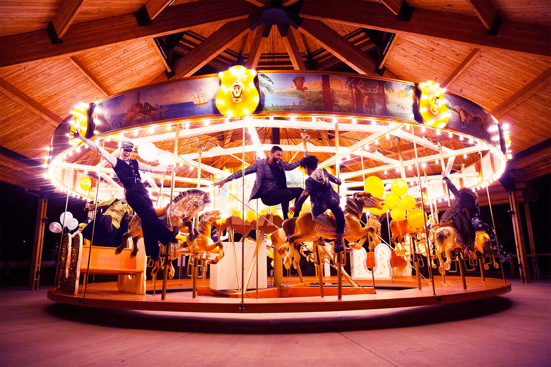 People standing on a carousel
