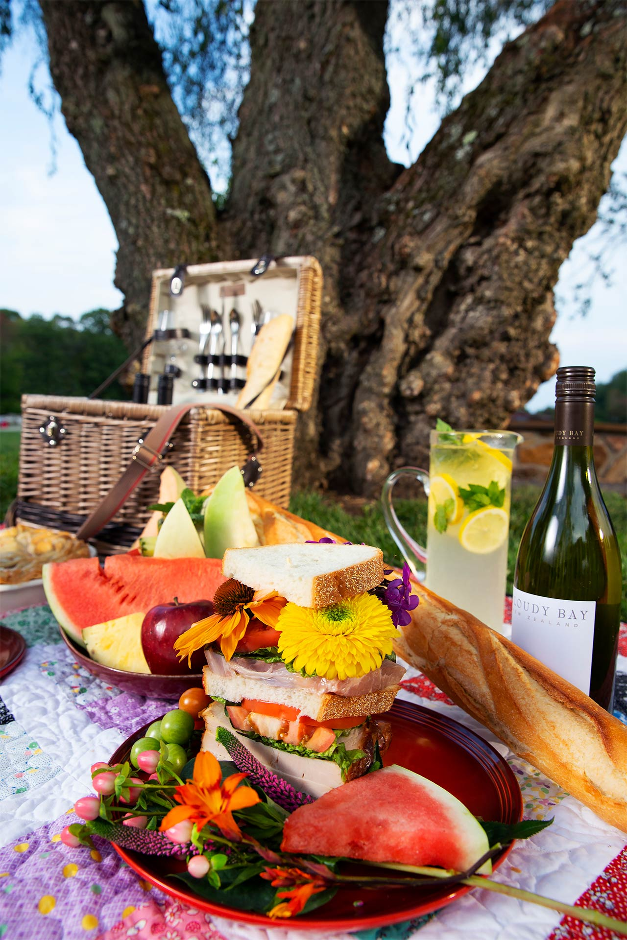 beautiful picnic with basket in front of tree